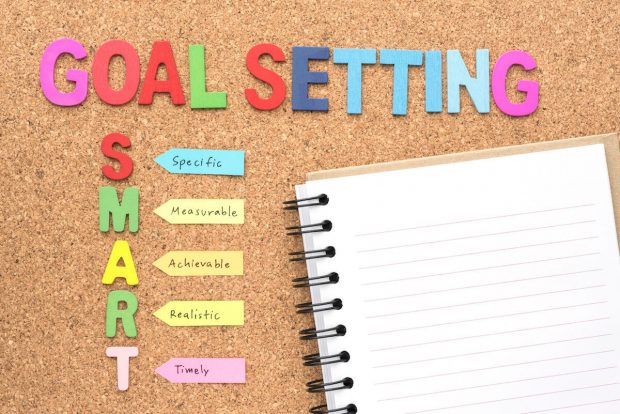 Words goal setting and smart with notebook